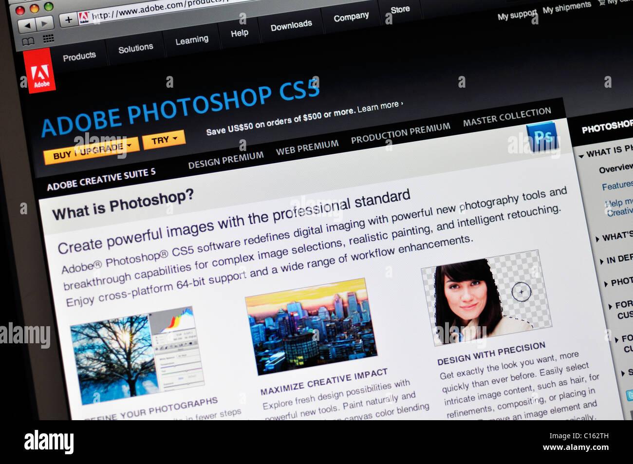 Adobe Photoshop CS5 website - Stock Image