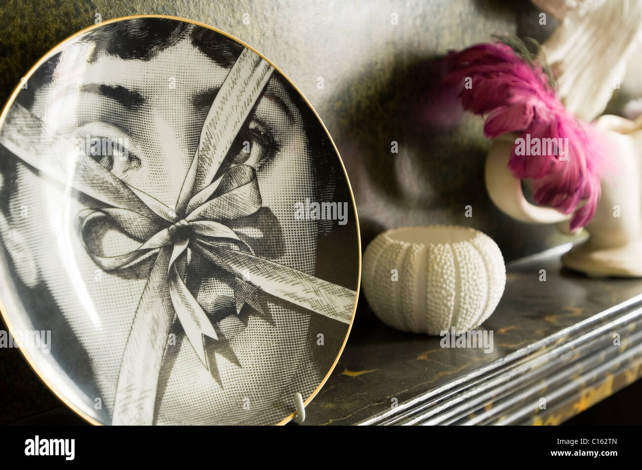 Fornasetti plate on marble mantelpiece with dead sea urchin - Stock Image