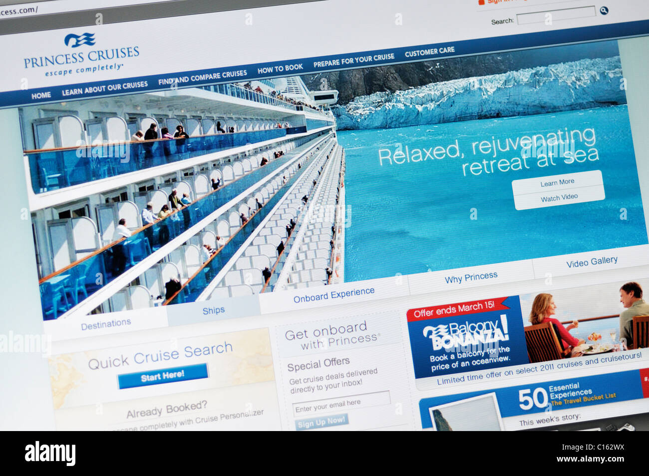 Princess Cruises website - Stock Image