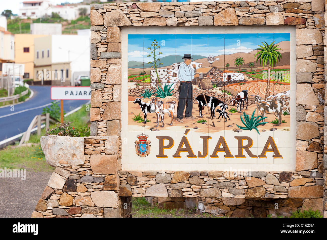 Welcome sign to the town of Pajara on the Canary Island of Fuerteventura - Stock Image