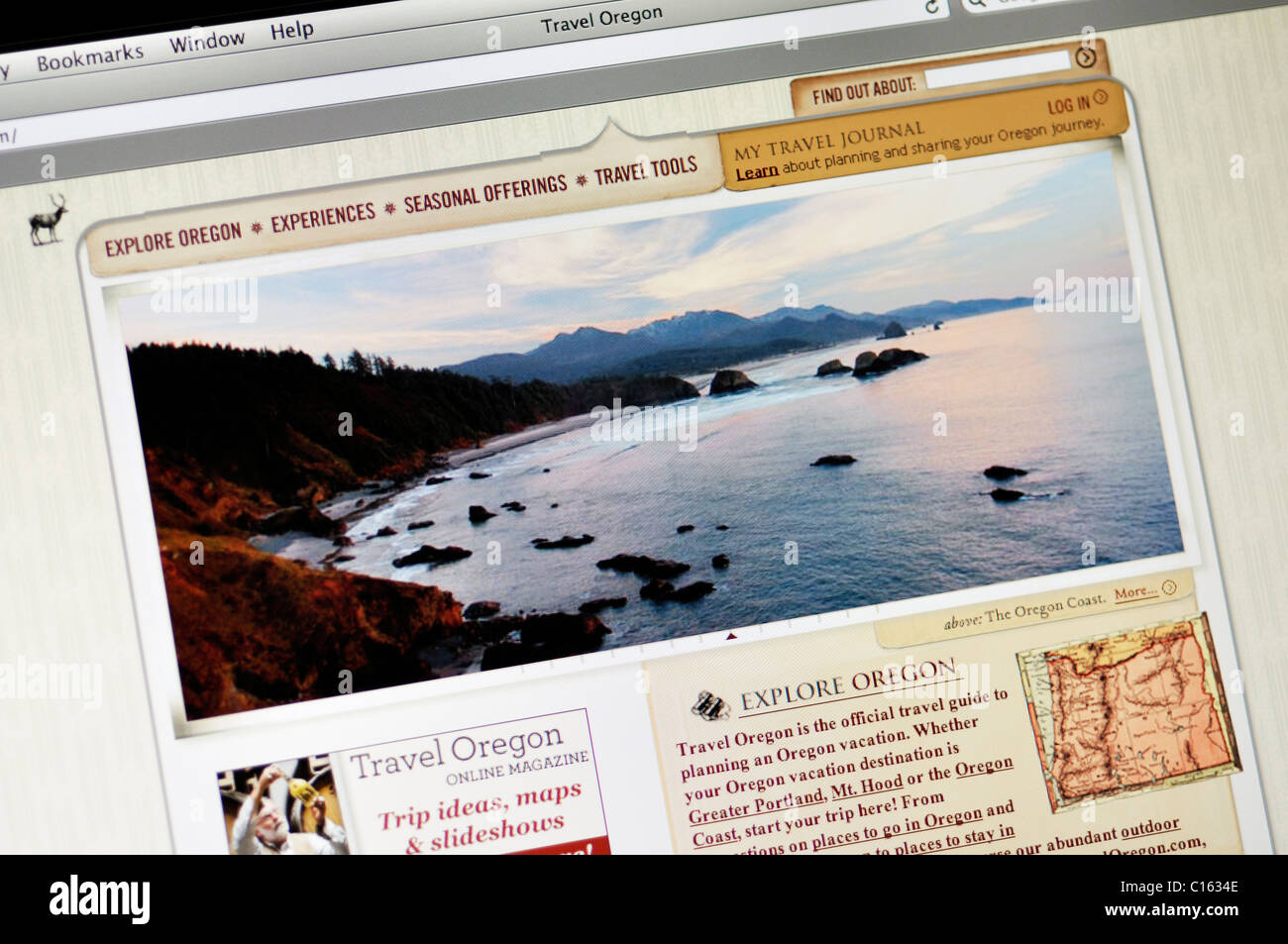 Oregon official state tourism website - Stock Image