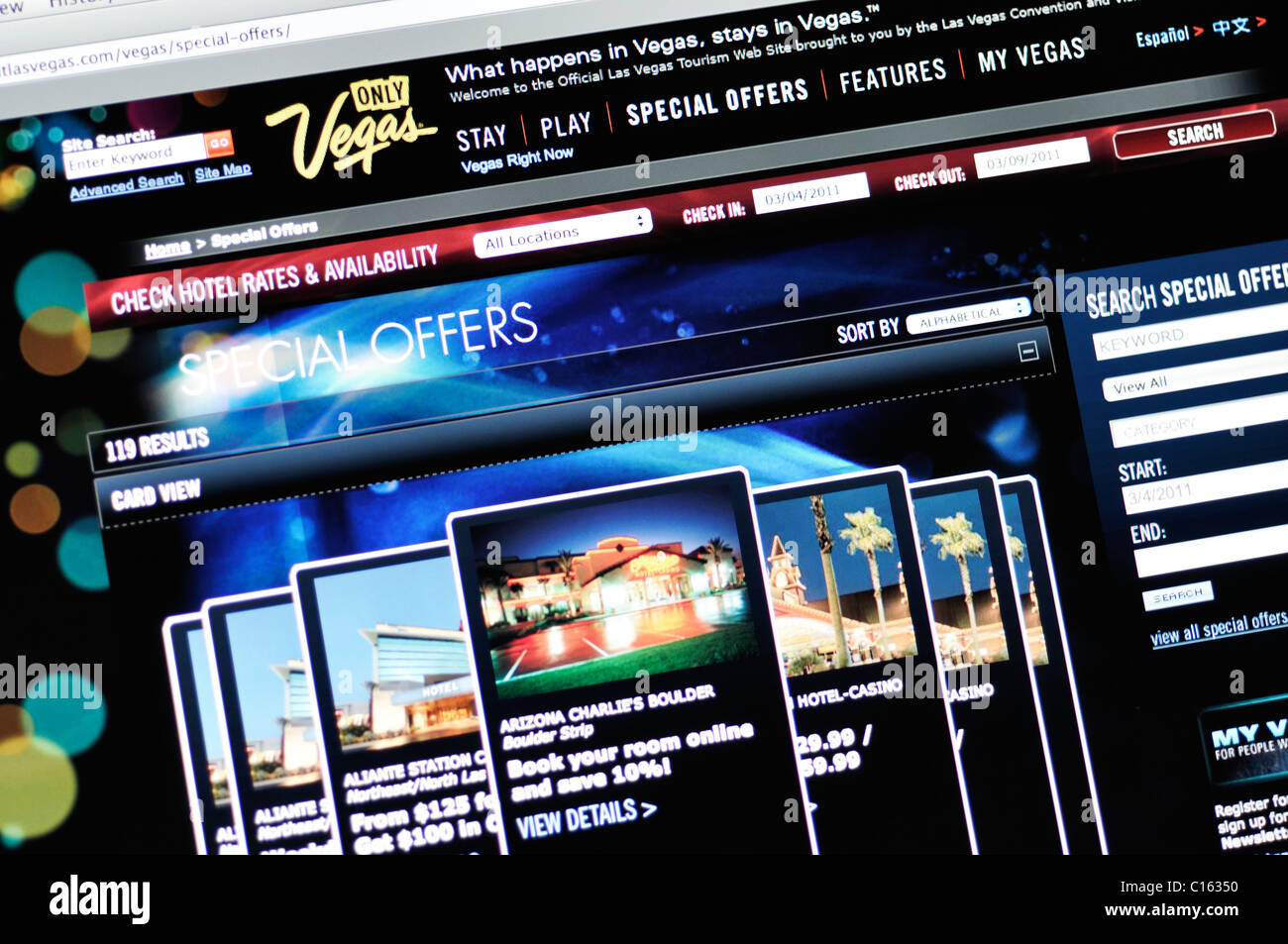 Las Vegas official tourism website - Stock Image