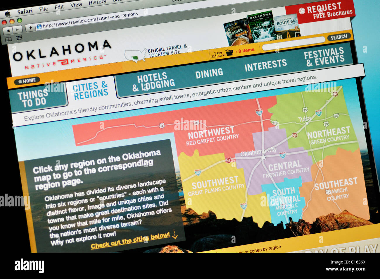 Oklahoma official state tourism website - Stock Image
