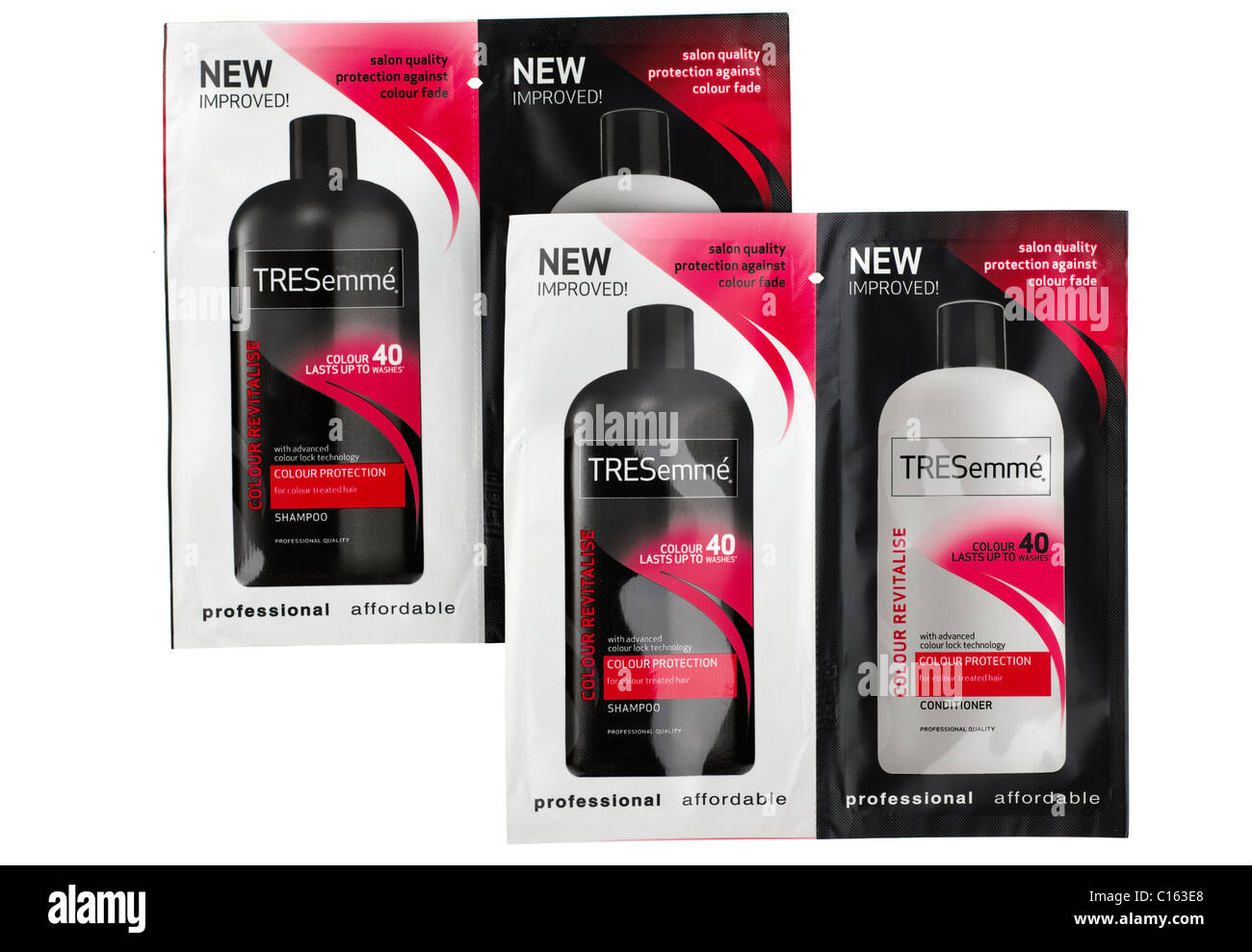 Four sample sachets of New Improved Tresemme conditioner and shampoo - Stock Image