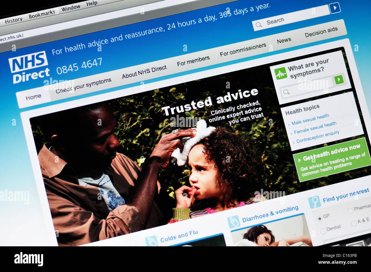 NHS Direct website - Stock Image