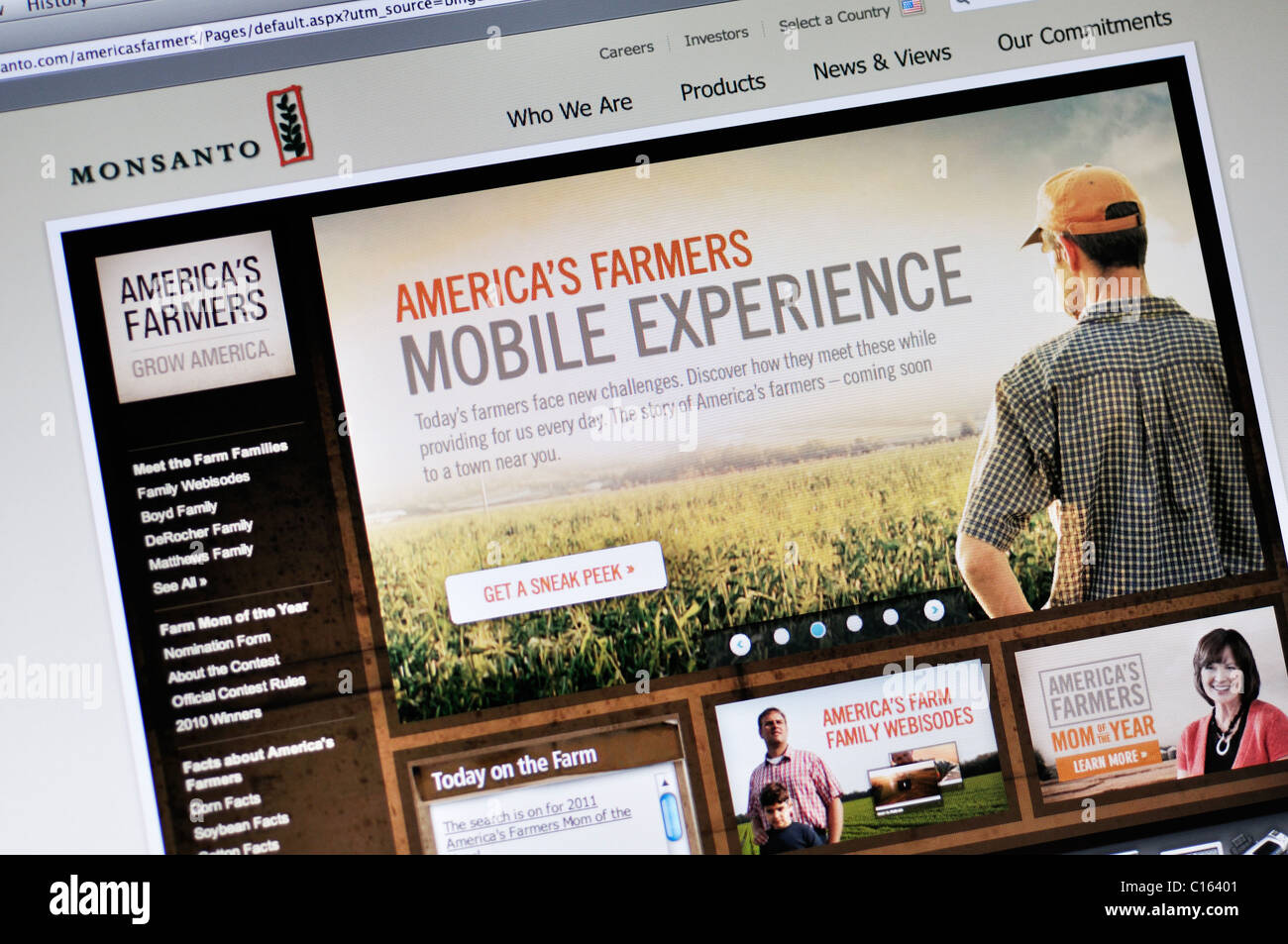 Monsanto website - genetically modified food and seeds corporation - Stock Image