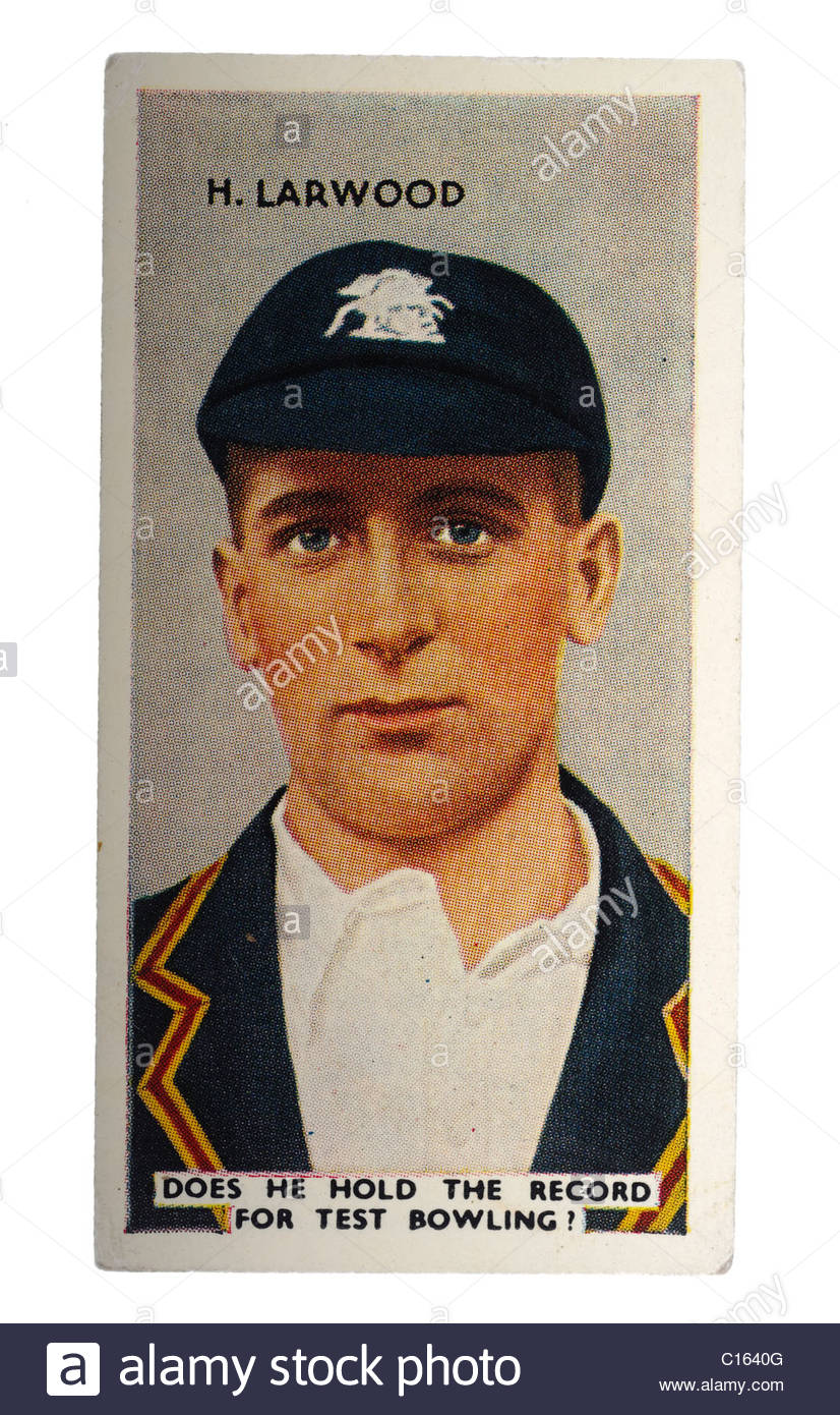 Harold Larwood  1904-1995 was a professional cricketer for Nottinghamshire and England. EDITORIAL ONLY - Stock Image