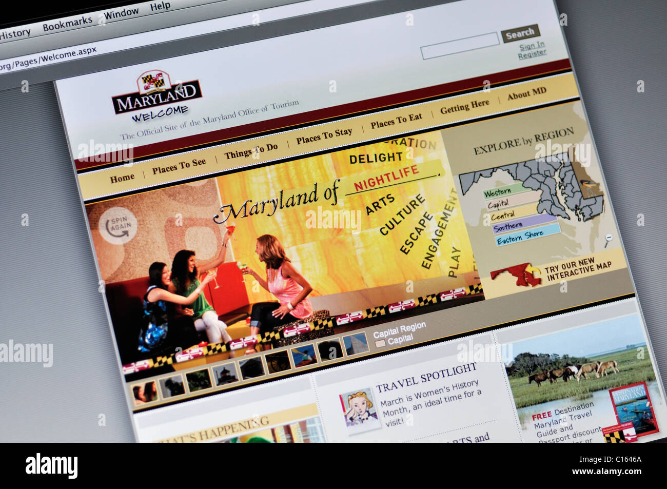 Maryland official state tourism website - Stock Image