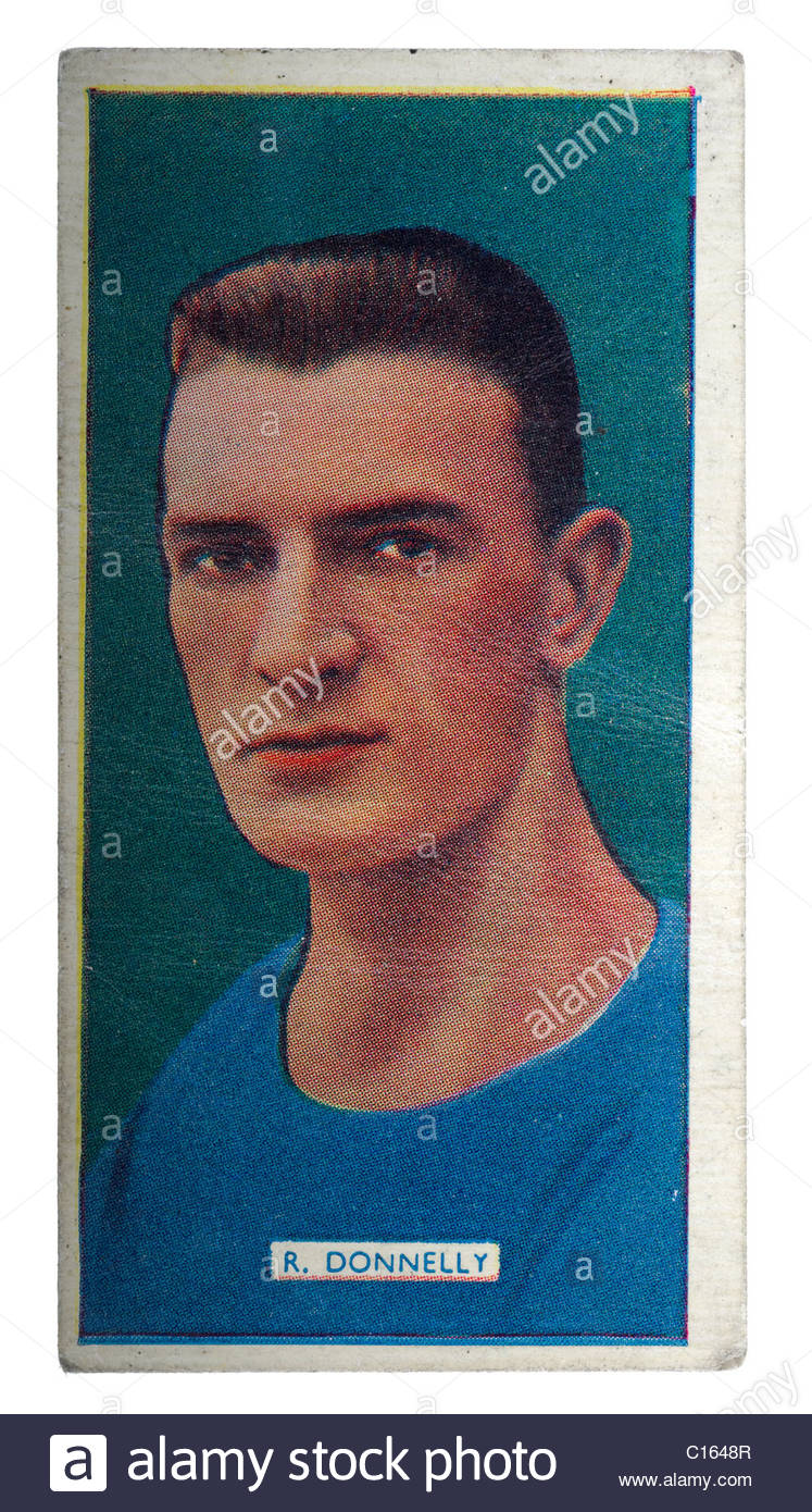 Cigarette Type Card Issued by Carreras LTD Popular footballers series showing Robert Donnelly center half position. - Stock Image