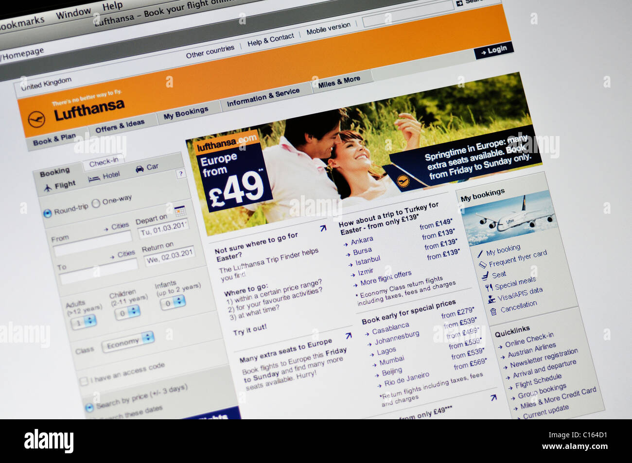 Lufthansa Airlines website - Stock Image