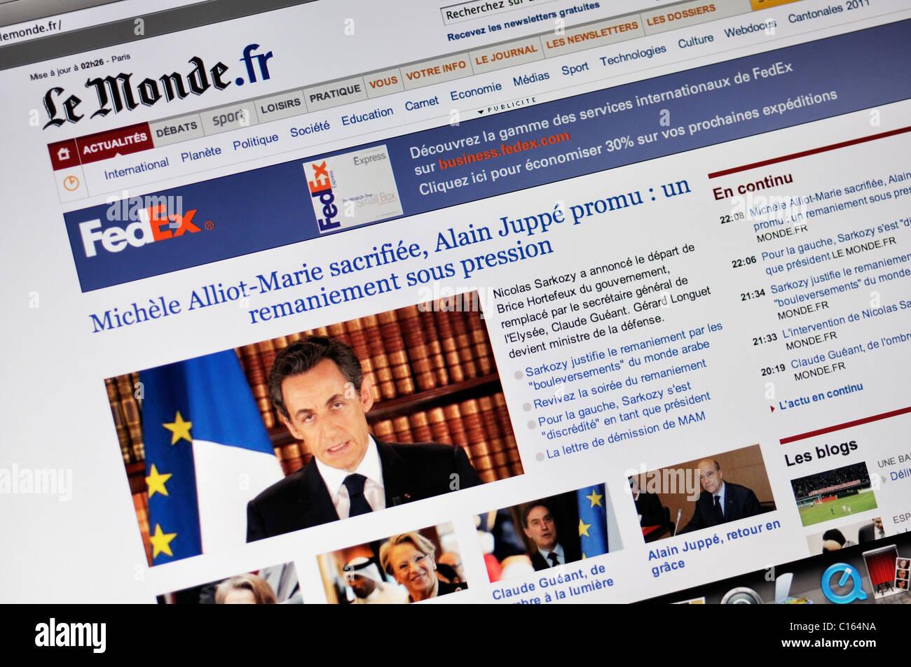 Le Monde online news website, France - Stock Image