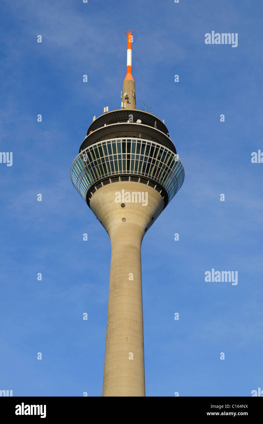 Rheinturm Tower, Medienmeile, Duesseldorf, North Rhine-Westphalia, Germany, Europe - Stock Image