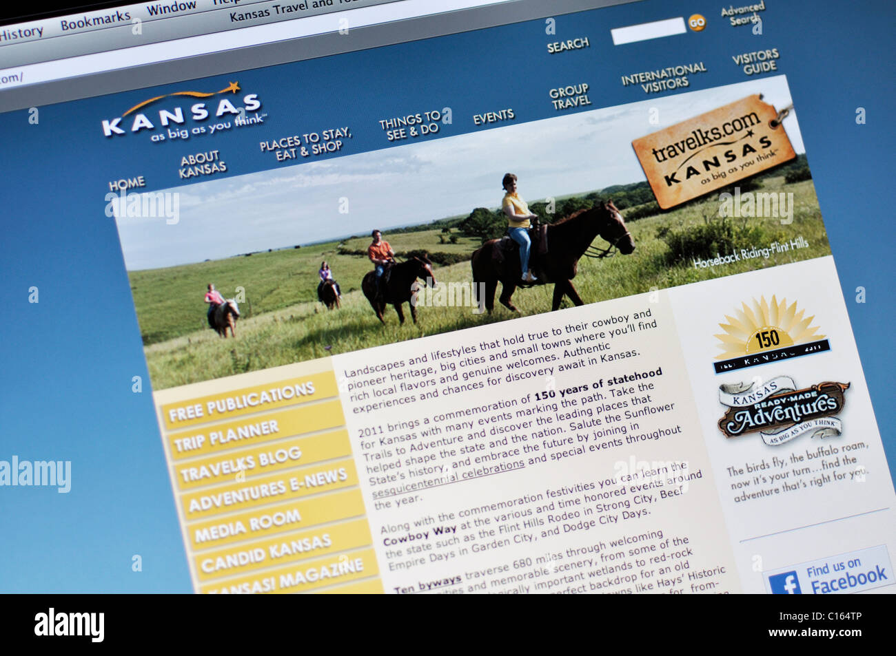 Kansas official state tourism website - Stock Image
