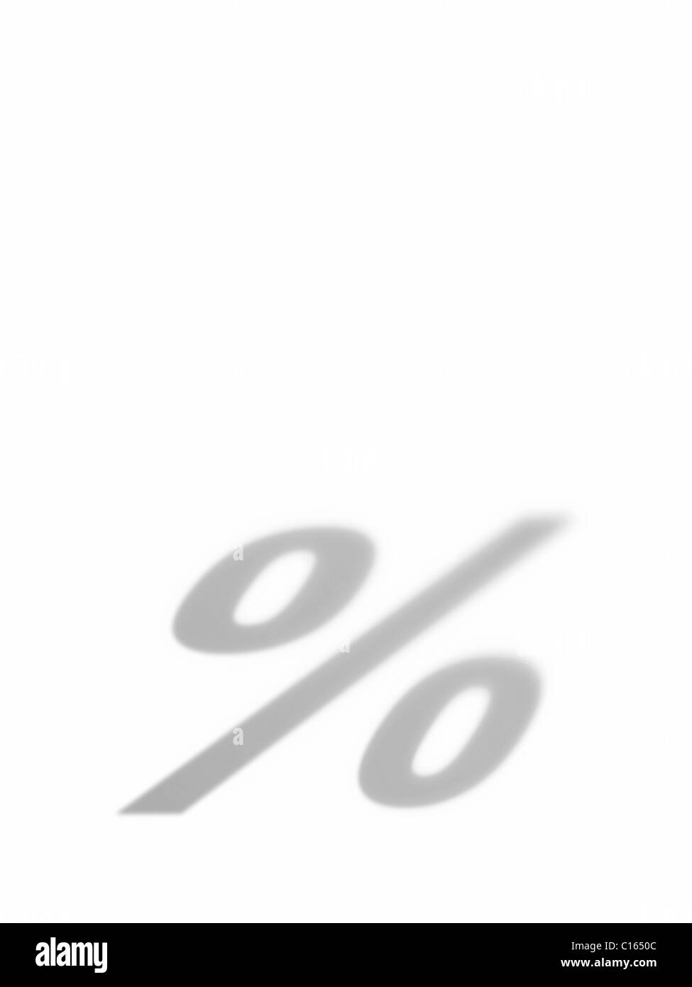 The sign for percent as a shadow - Stock Image