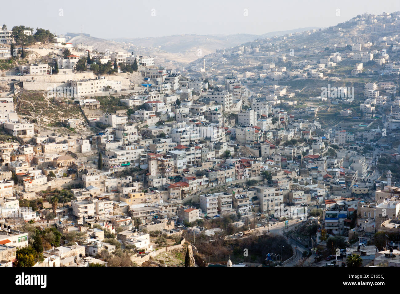 View from the old city walls on East-Jerusalem. Israel - Stock Image