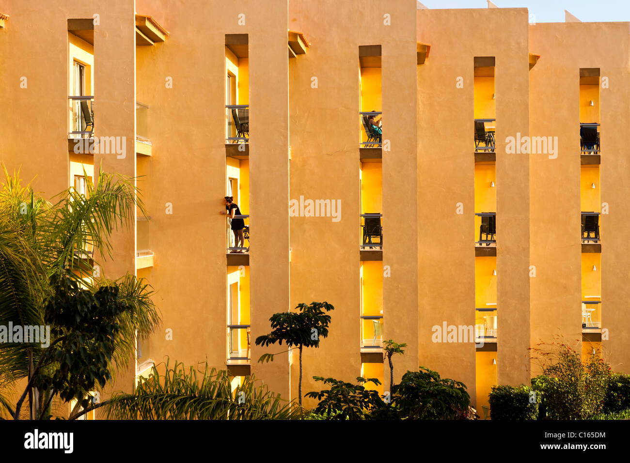 Evening light on the balconies of the Barceló Fuerteventura Hotel, Caleta de Fuste, on the Canary island of - Stock Image