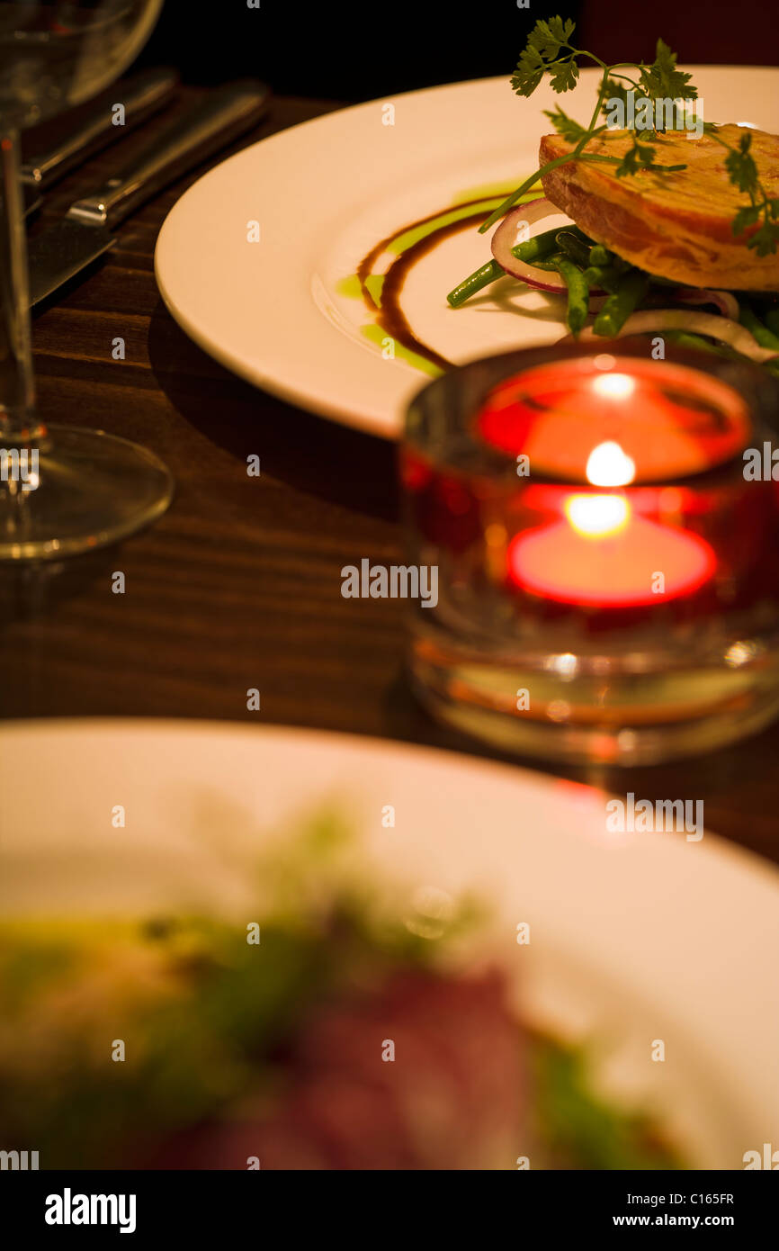 ROMANTIC MEAL FOR TWO SELECTIVE FOCUS Stock Photo