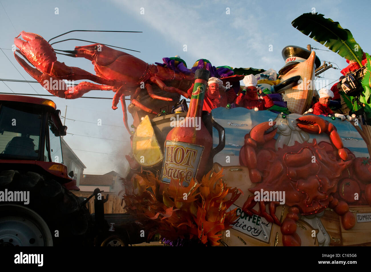 Krewe of Bacchus float in the staging area during Mardi Gras 2011. Stock Photo