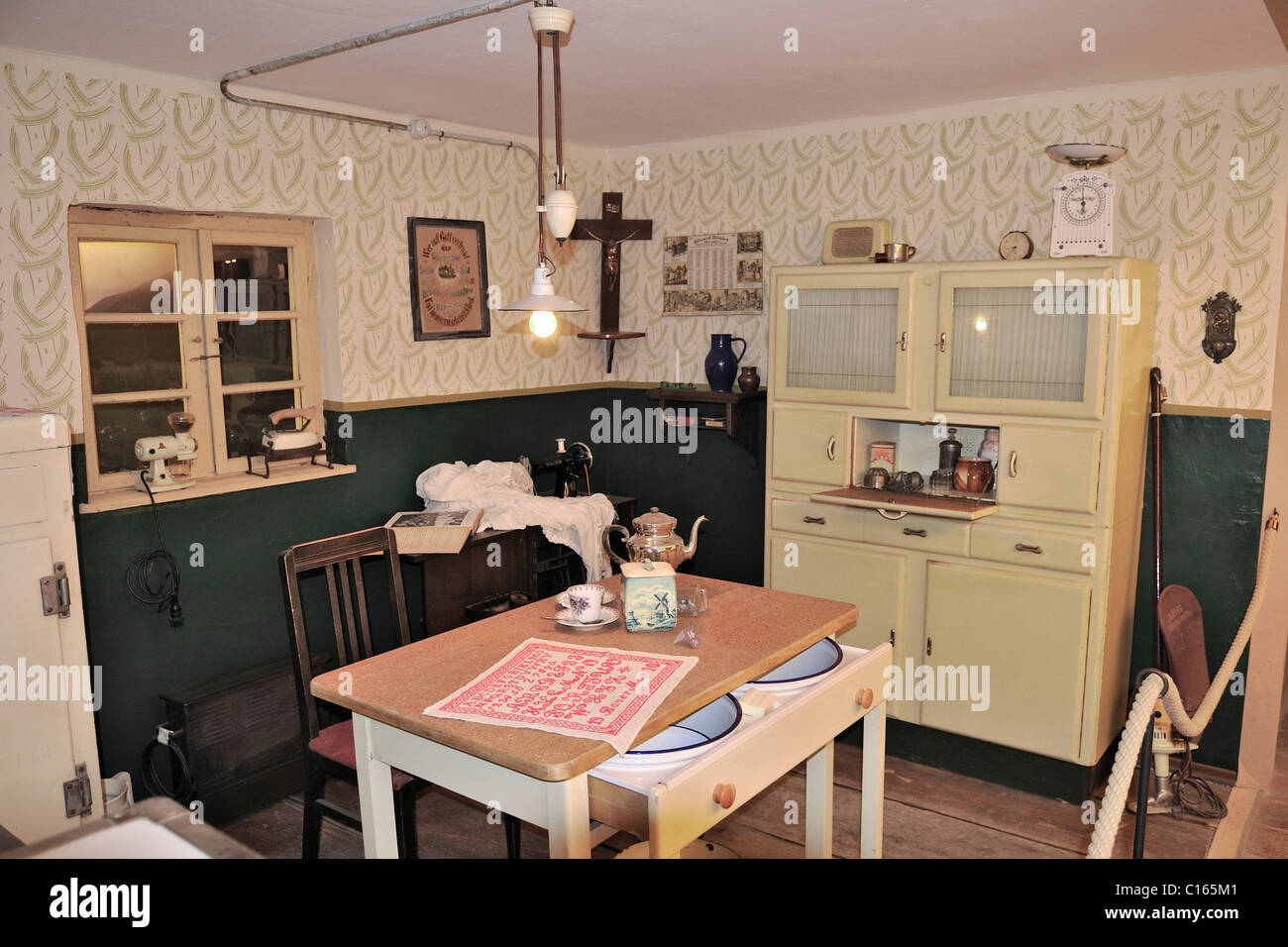 1950's style kitchen, Markus Wasmeier Farm and Winter Sport Museum, Schliersee Lake, Bavaria, Germany, Europe - Stock Image