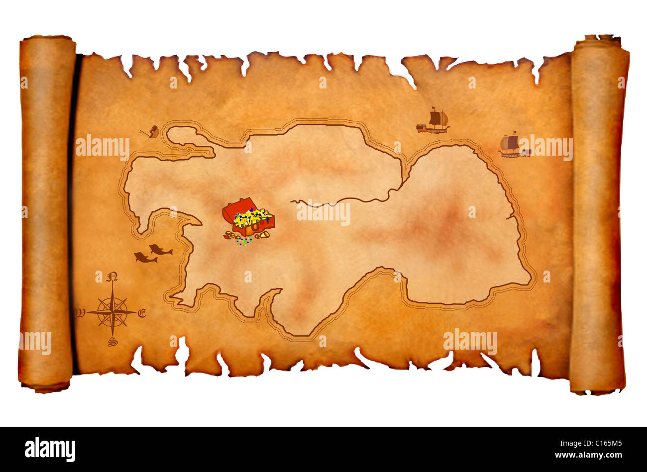 Pirates Treasure Map On An Old Parchment