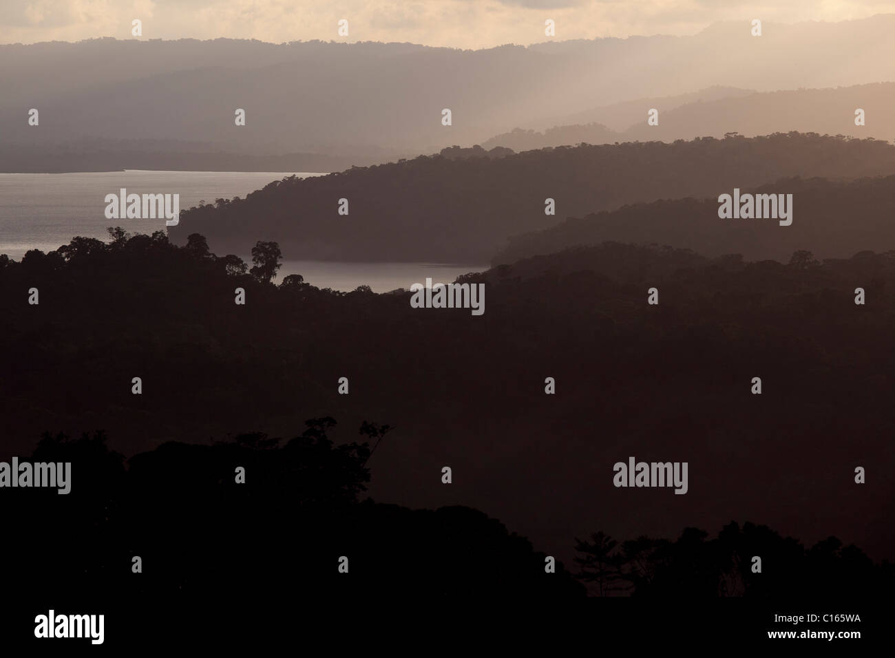 The Osa Peninsula at dusk, thousands of acres of primary rain forest meeting the ocean, Costa Rica. - Stock Image