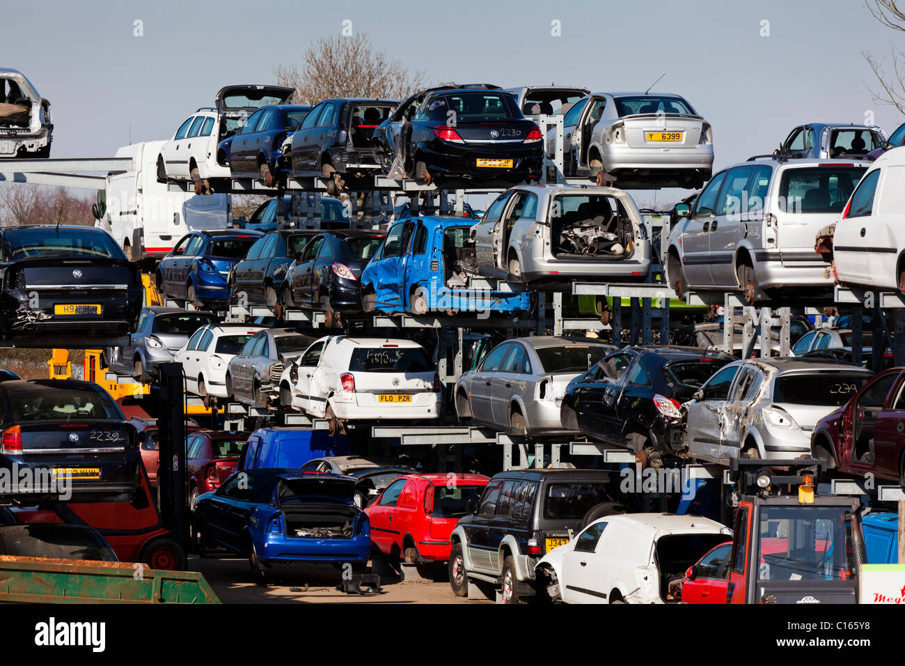 Scrap vehicles in a scrap yard Breakers yard Stapleford Stock Photo ...