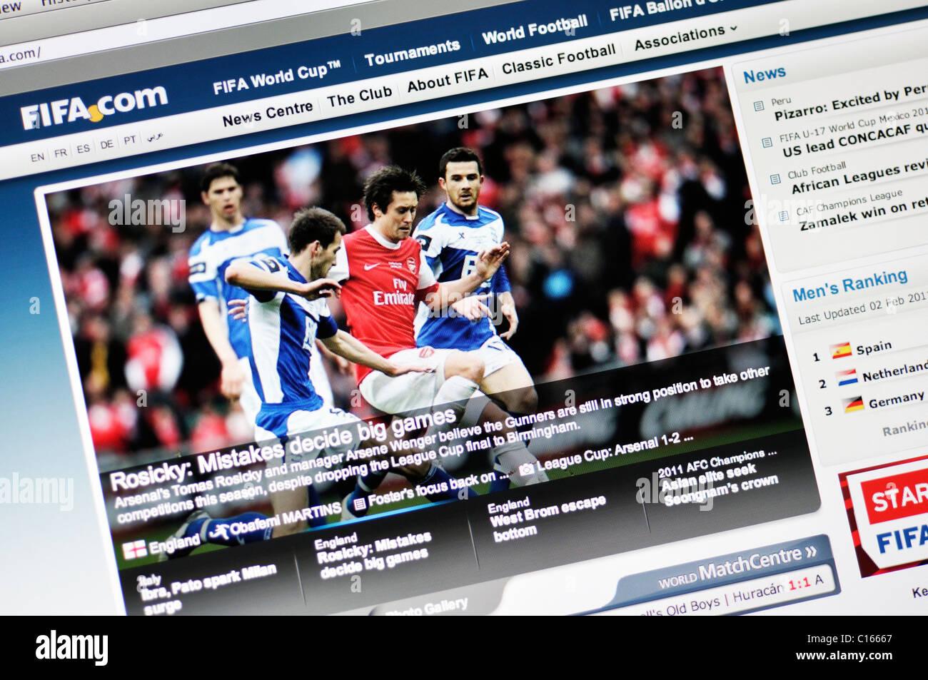 FIFA website - Stock Image