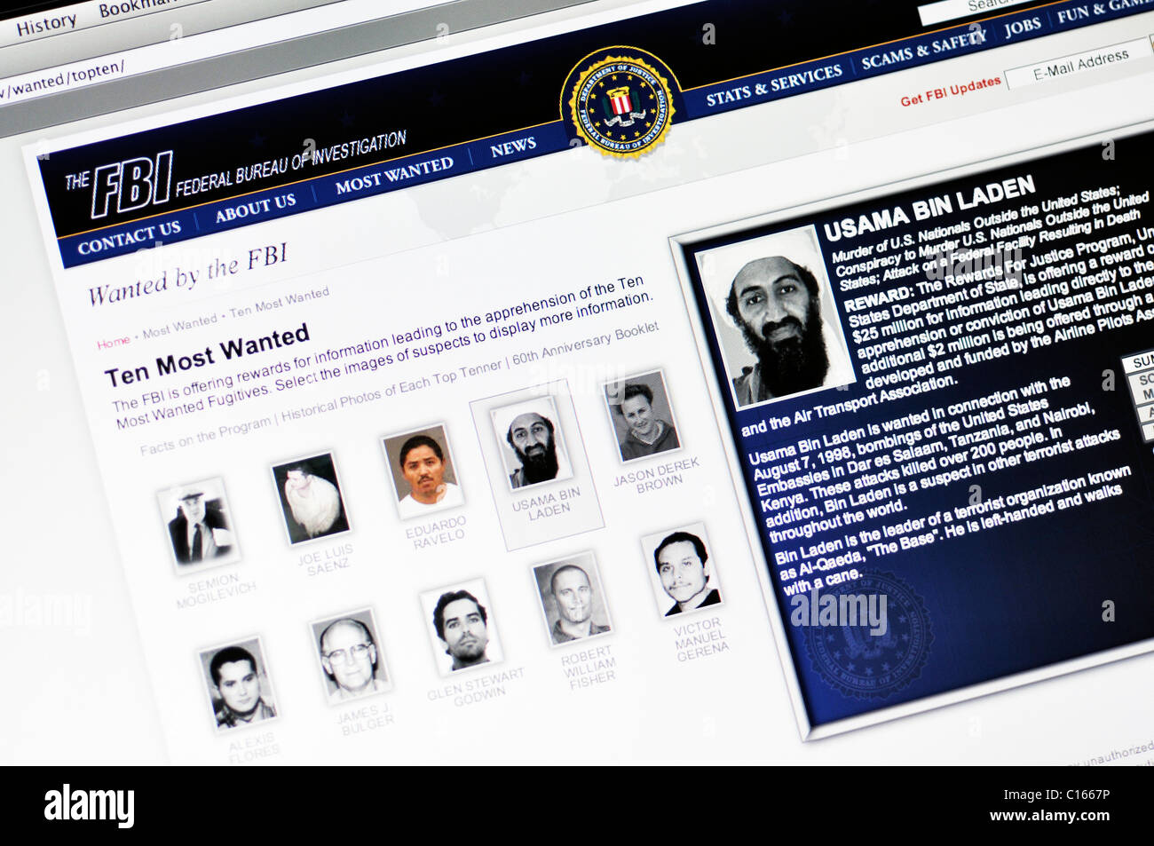 FBI most wanted list website - Stock Image