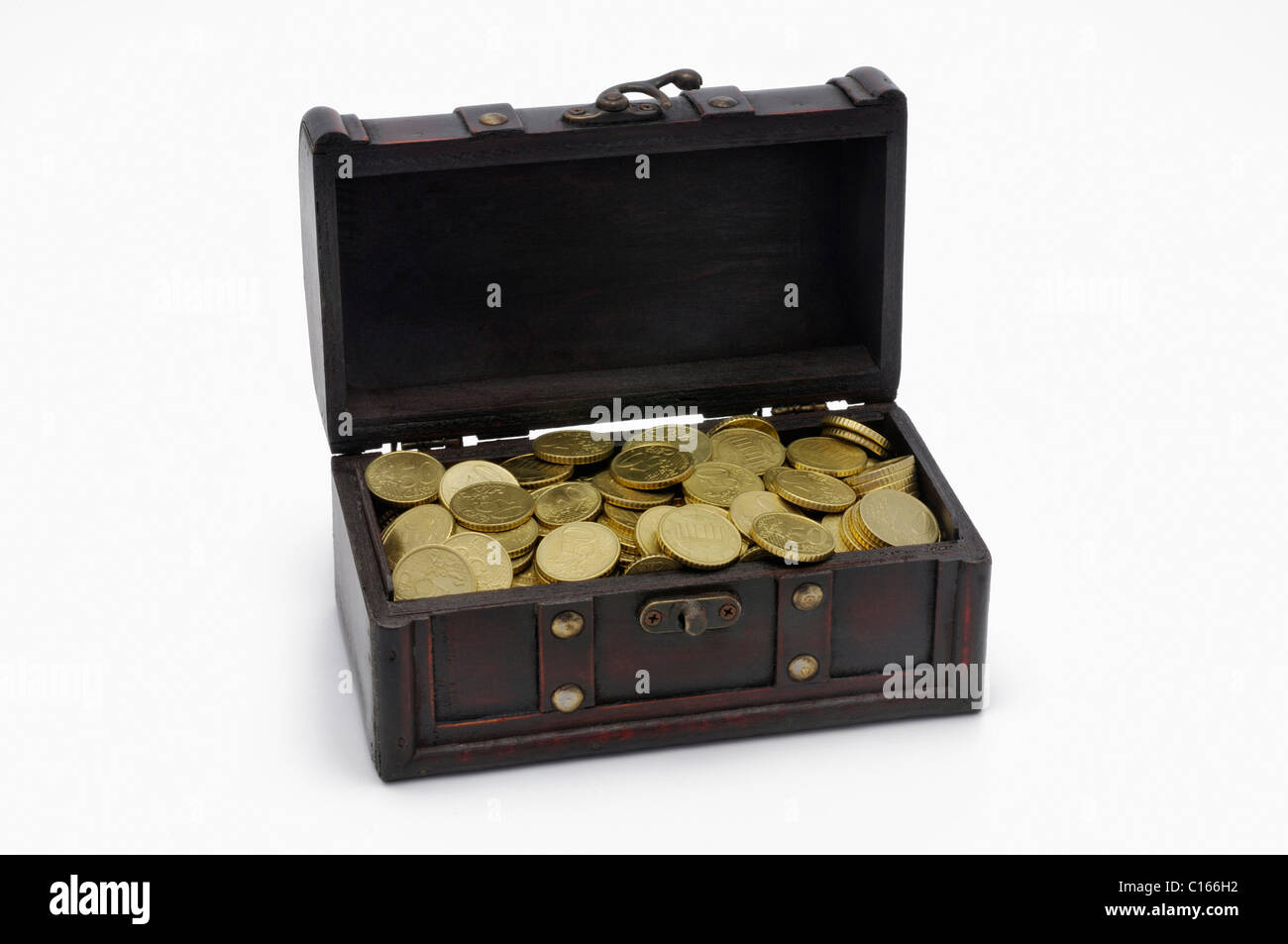 Treasure chest, wooden box with gold coloured Euro coins - Stock Image