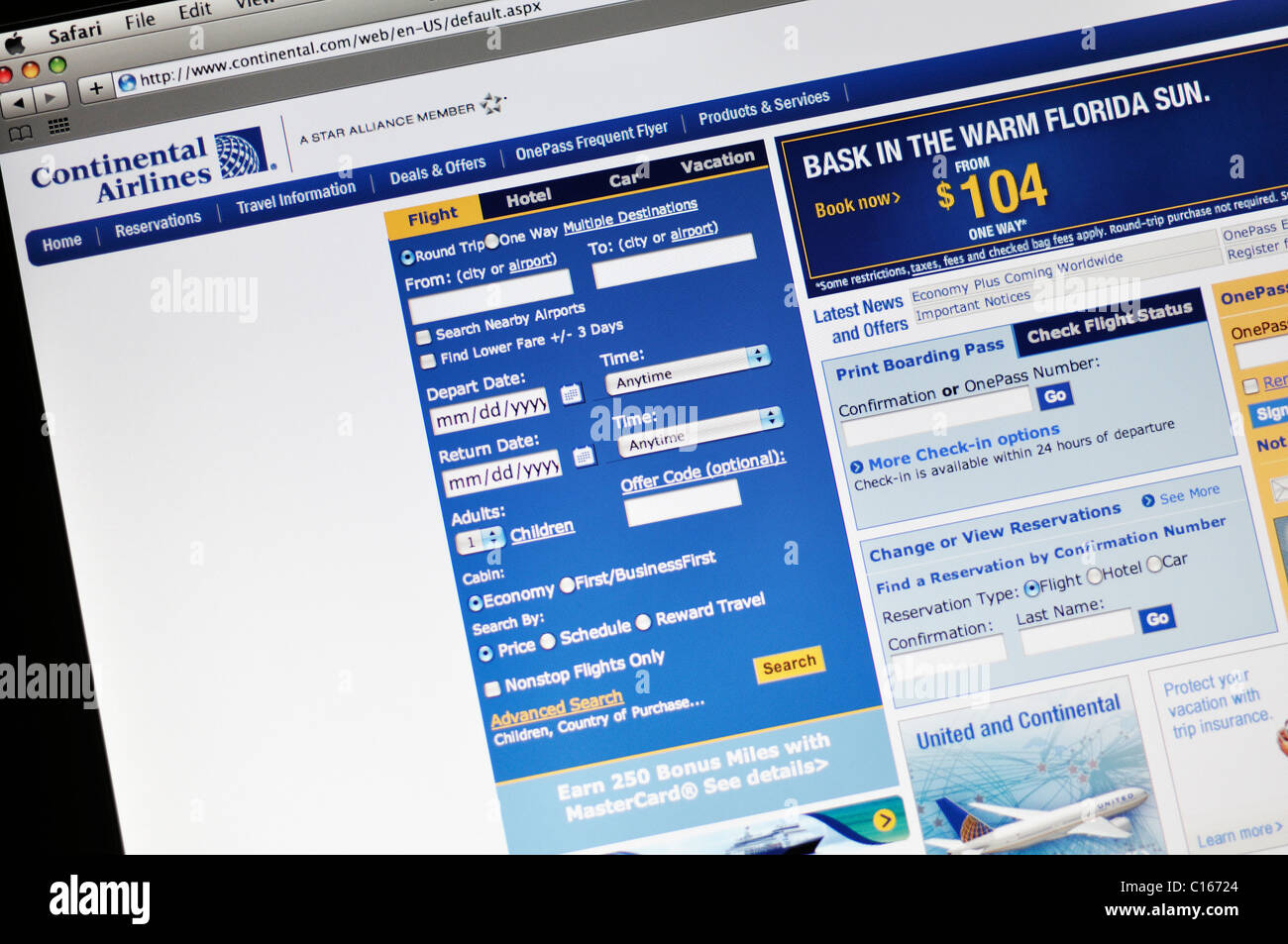 Continental Airlines Airlines website - Stock Image