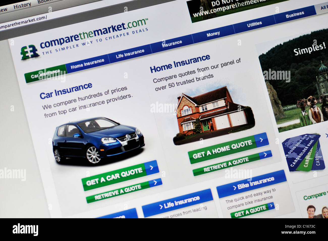 Comparethemarket website - online products and services comparison - Stock Image