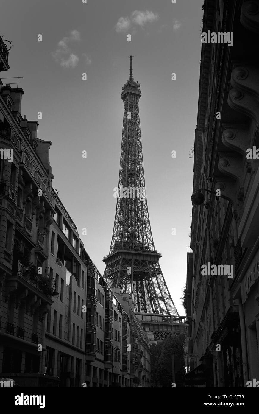 The Eiffel Tower is one of the more famous of Paris Landmarks. - Stock Image
