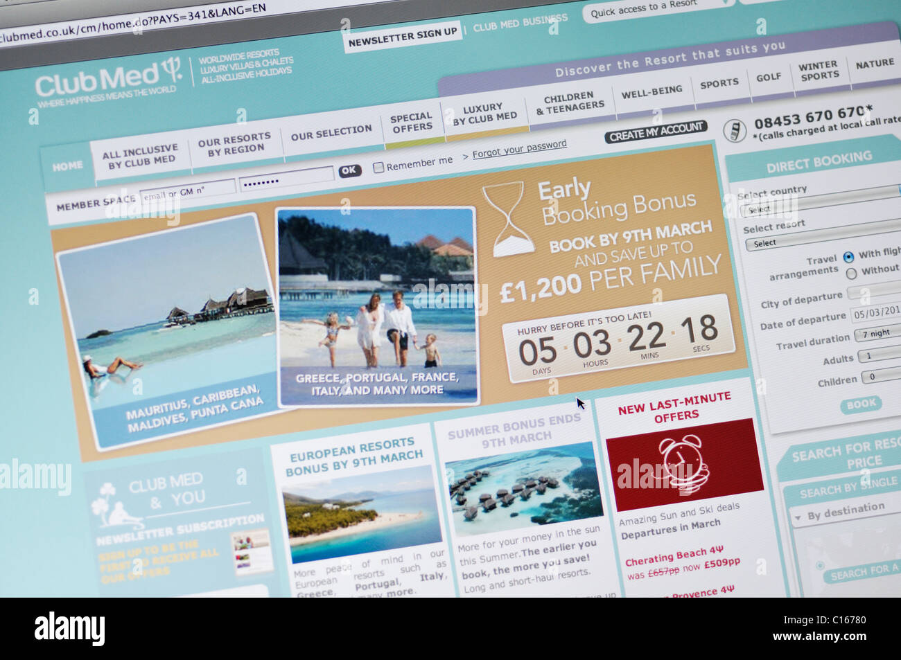 Club Med website - all inclusive family vacation resorts - Stock Image