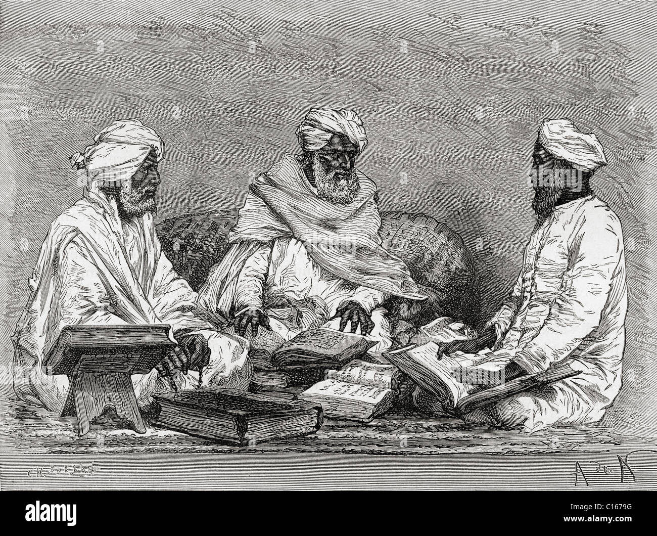 Mullahs from Bhopal, India in the 19th century. From El Mundo en la Mano, published 1878. - Stock Image