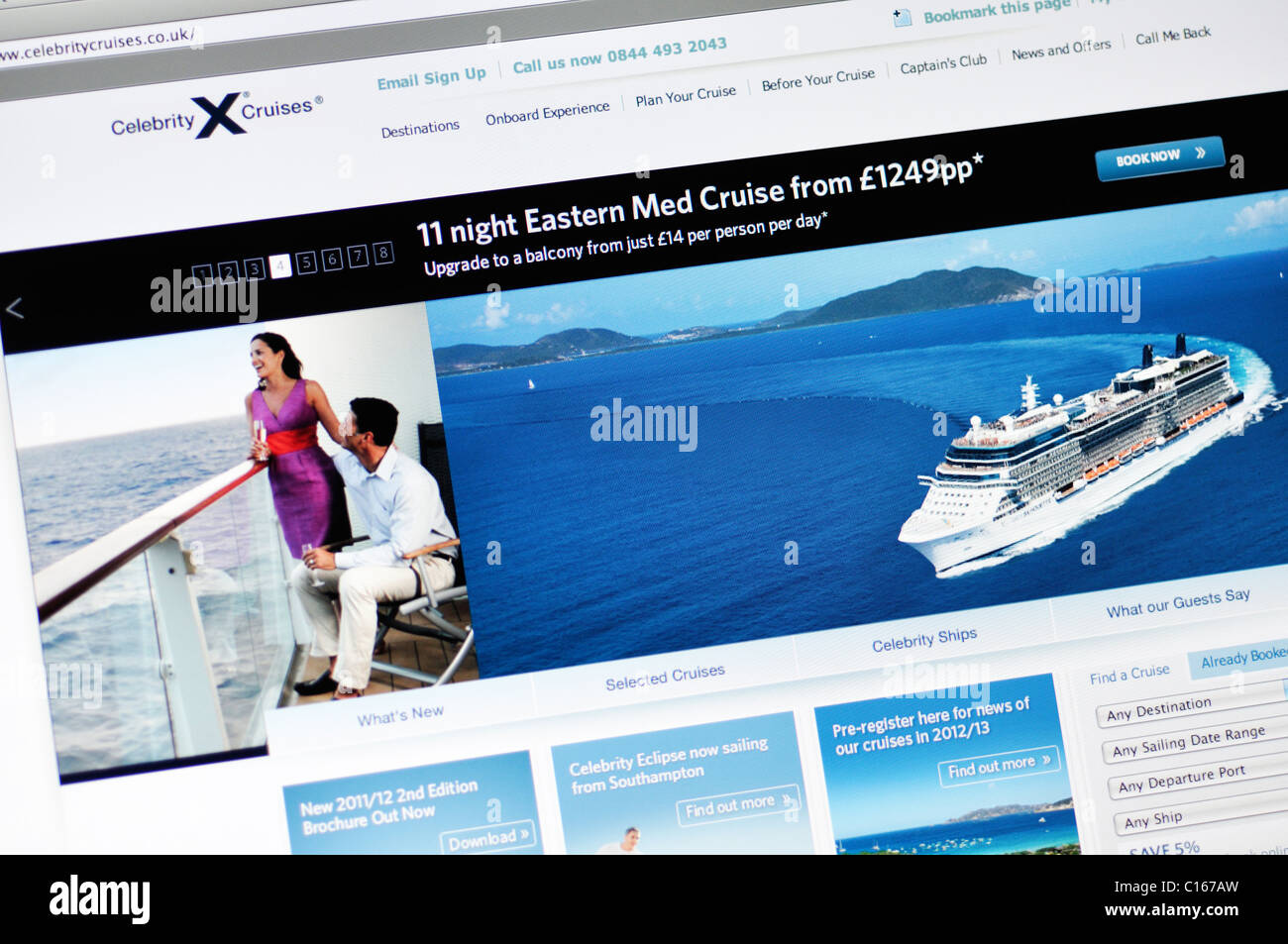 Celebrity cruise line website - Stock Image