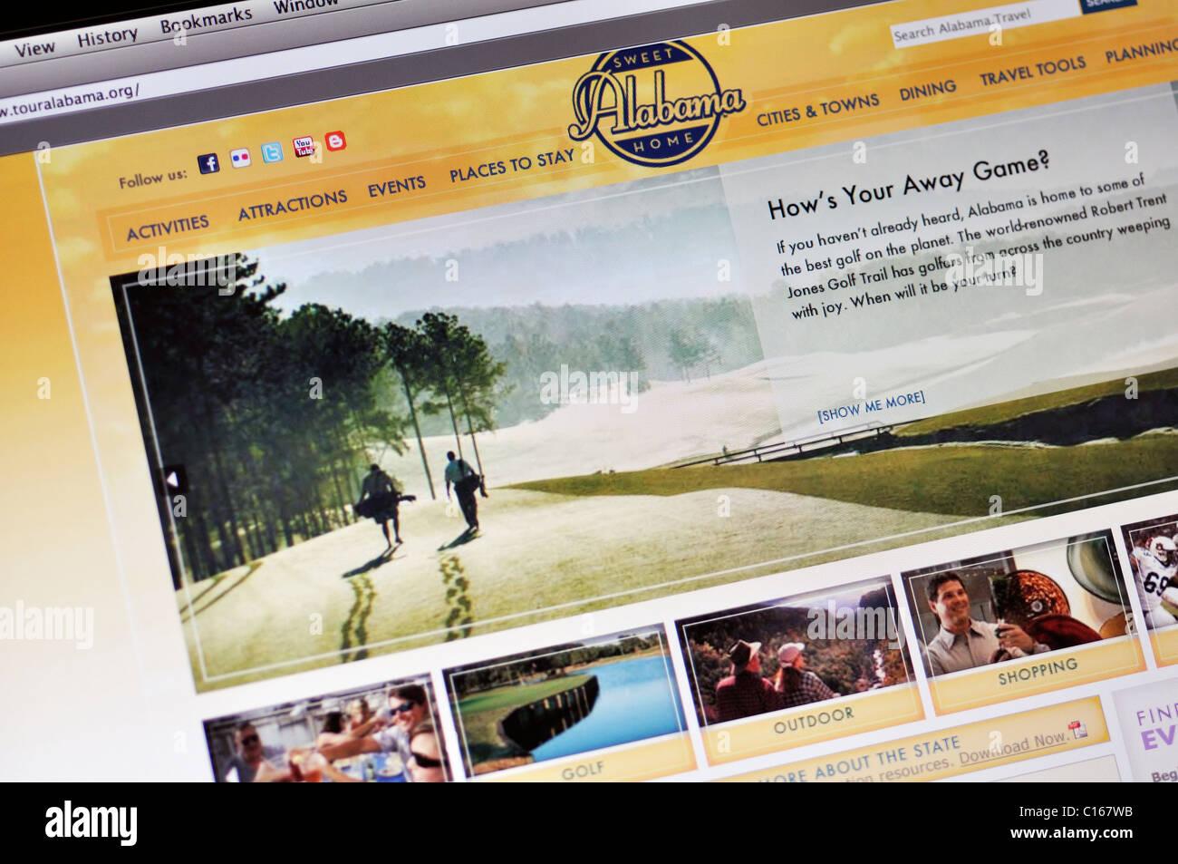 Alabama official state tourism website - Stock Image