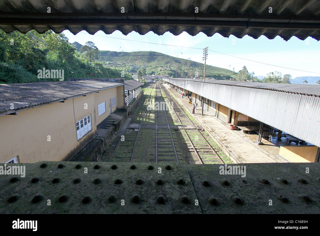 View of a railroad station platform from a bridge, Sri Lanka - Stock Image