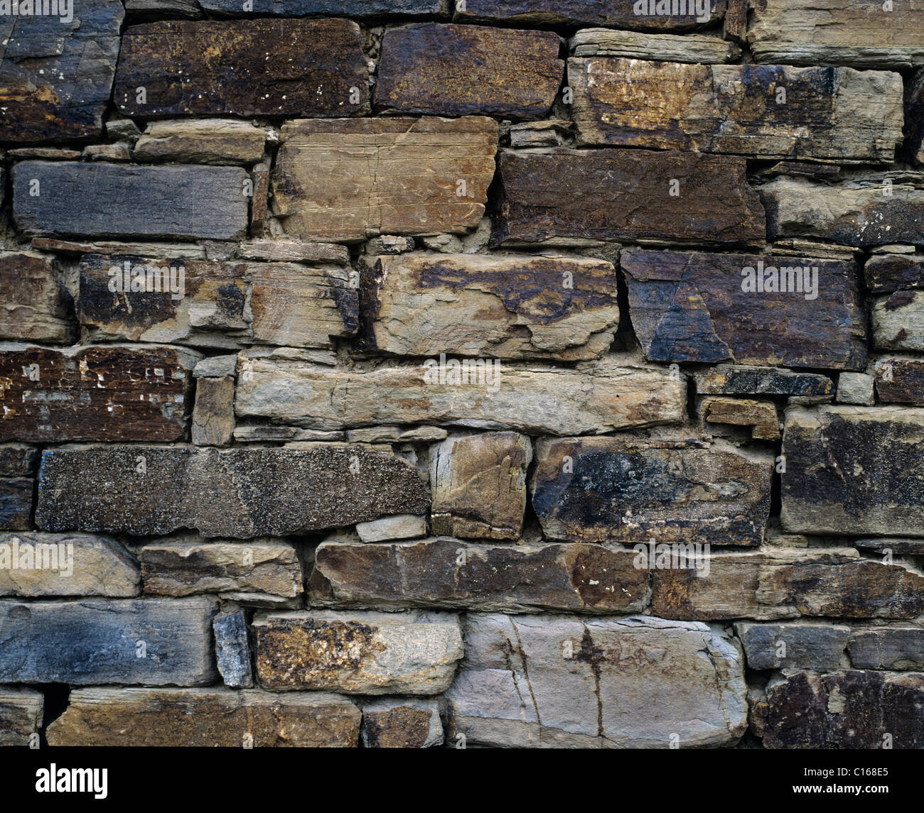 Old quarry stone wall - Stock Image