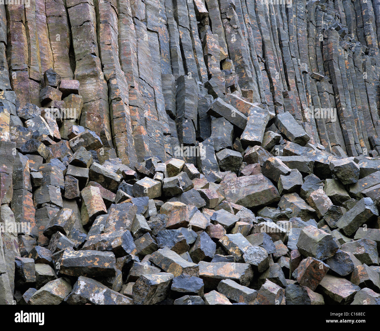 Quarry, basalt stone quarry, basalt array, basalt columns behind - Stock Image