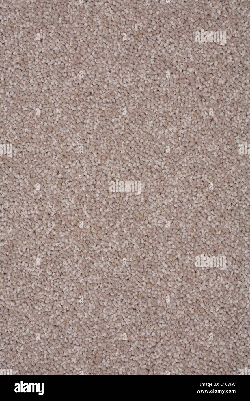 Closeup of a twist pile carpet in natural brown color Stock Photo