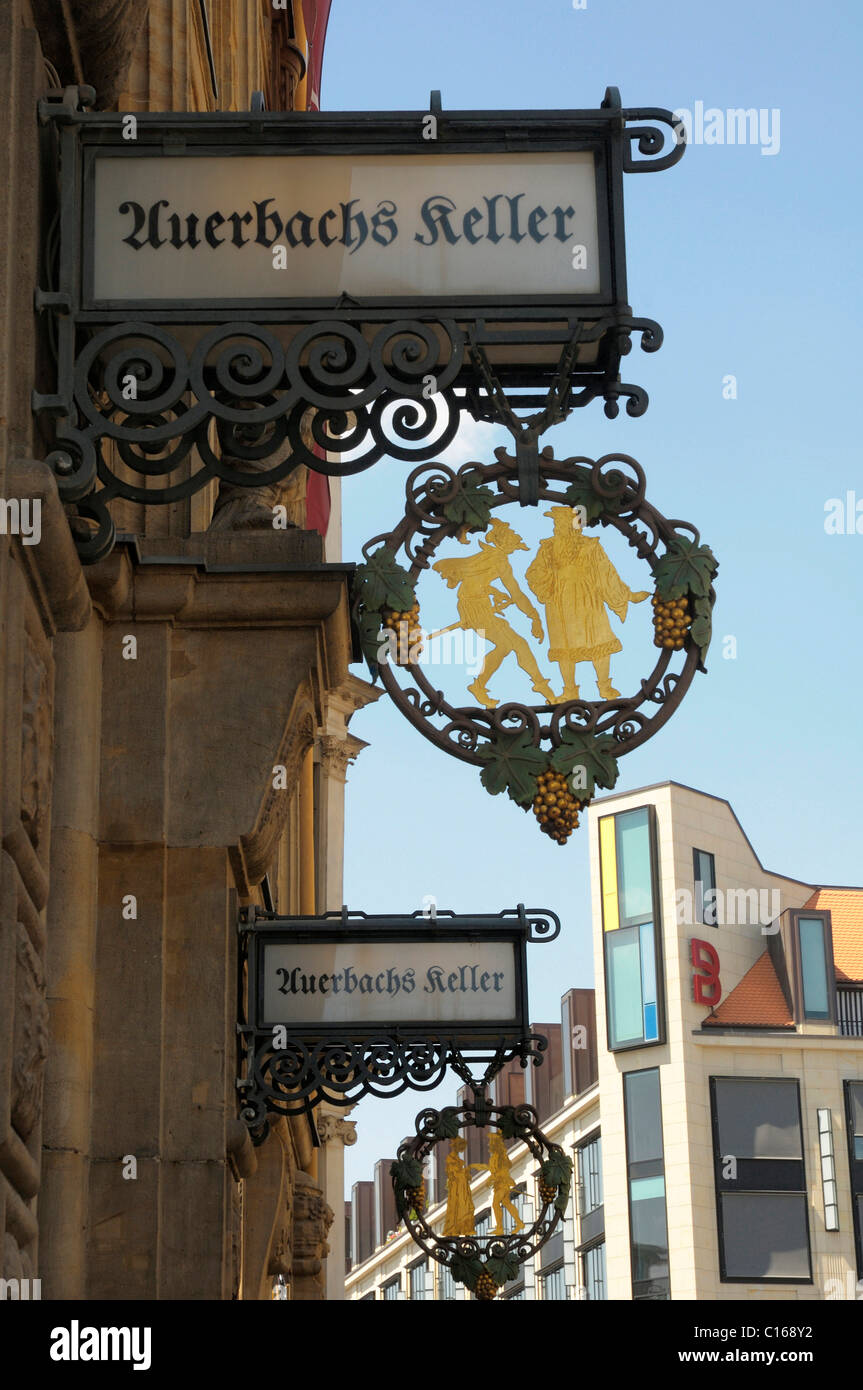 Ornamental shop sign for Auerbachs Keller, in Leipzig, Saxony, Germany, Europe - Stock Image