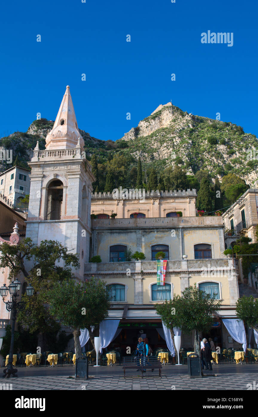 Chiesa di San Giuseppe church at Piazza IX Aprile square old town Taormina Sicily Italy Europe - Stock Image