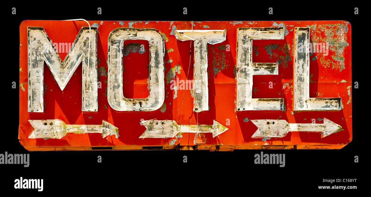 weathered Motel sign on old Route 66 - Stock Image
