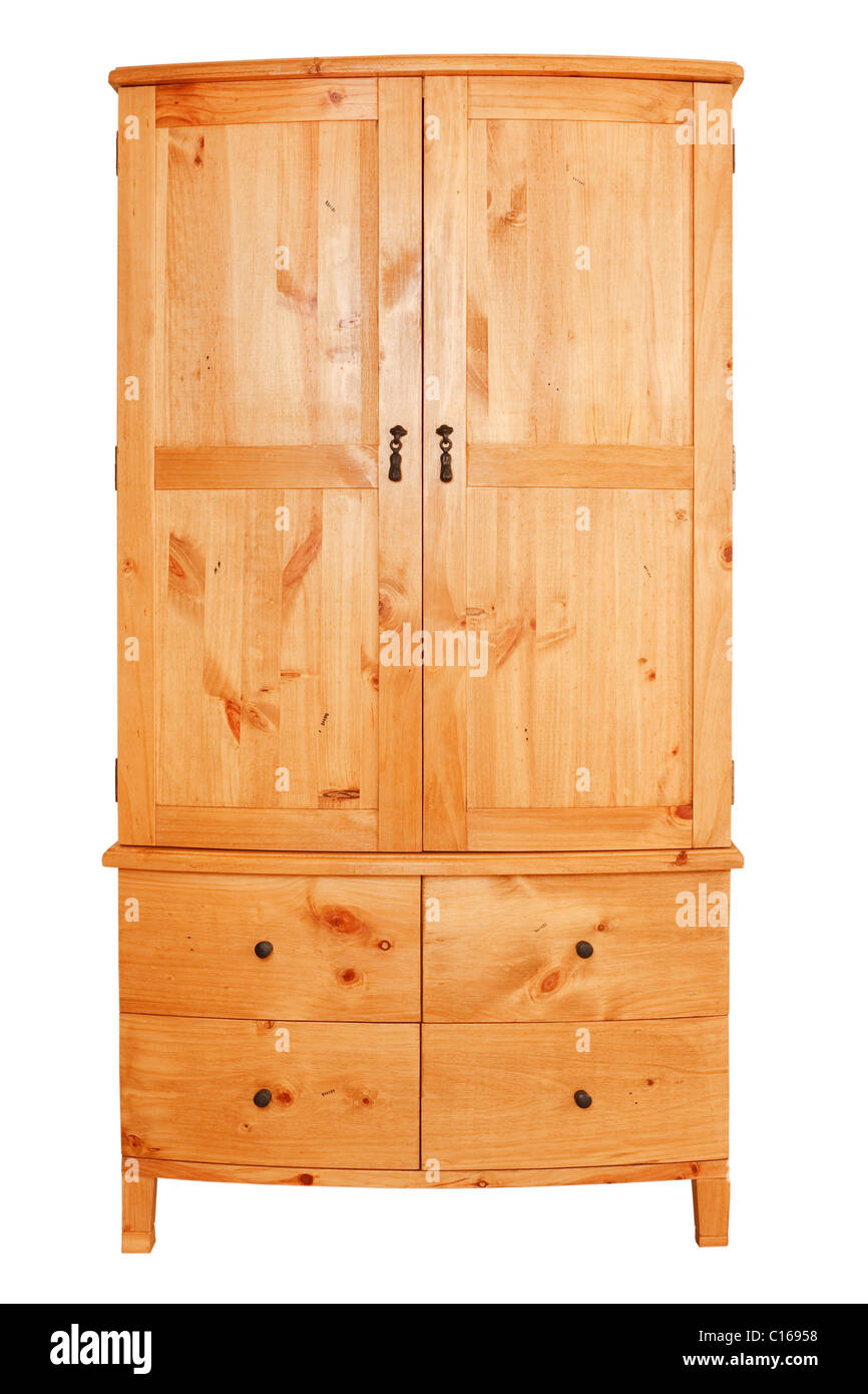 Modern pine wardrobe isolated against a white background with clipping path - Stock Image