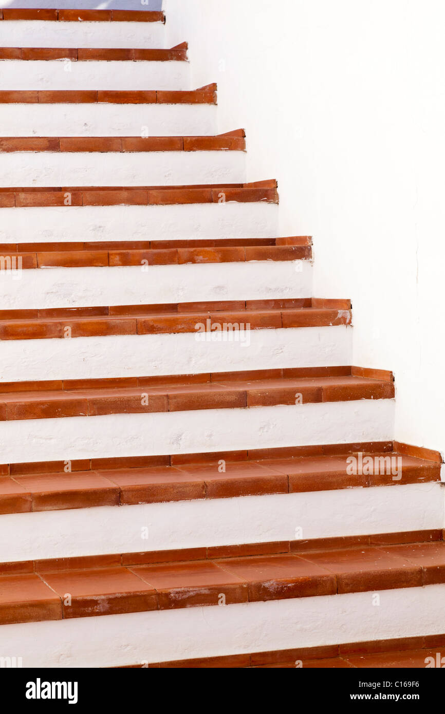 Red tiled steps on the Canary Island of Fuerteventura - Stock Image