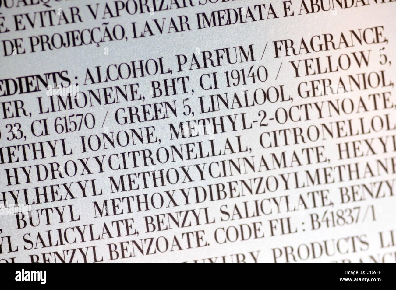 Perfume Ingredients Ingredient List Stock Photos & Perfume