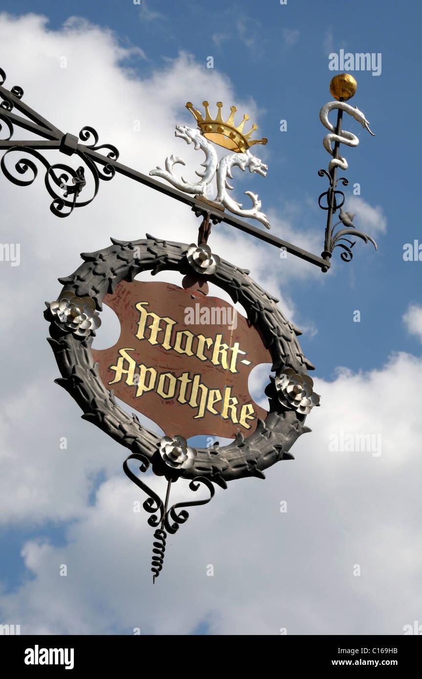 Marktapotheke Pharmacy sign, Saalfeld, Thuringia, Germany, Europe - Stock Image