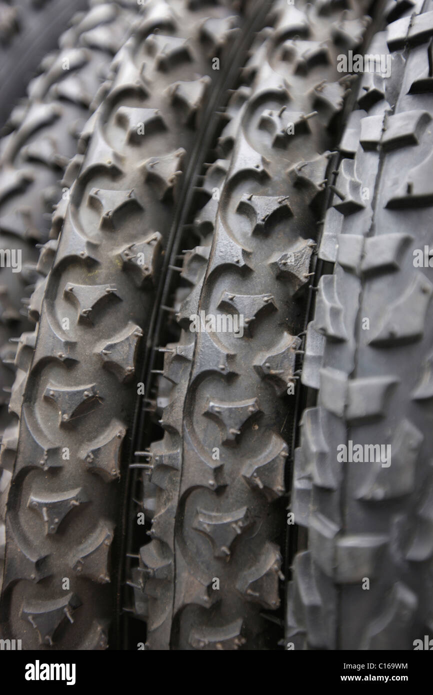 Bicycle tyres at a flea market - Stock Image