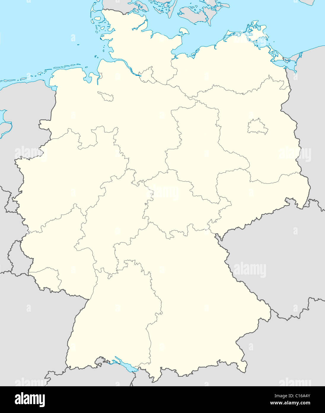 illustrated map of the country of germany in europe stock image