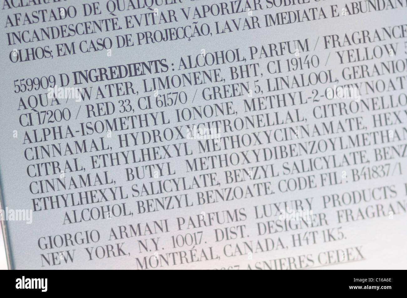 Ingredient list on perfume package - Stock Image